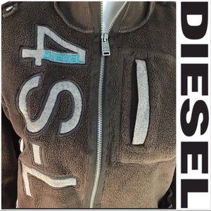 Diesel Brown w/ Blue Logo Sweatshirt Hoodie EUC!